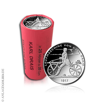 20 Euro Gedenkmünze Laufmaschine Von Karl Drais 1817 Stempelglanz