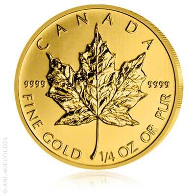 (Random year) 1/4 Oz gold Maple Leaf Canada  Front