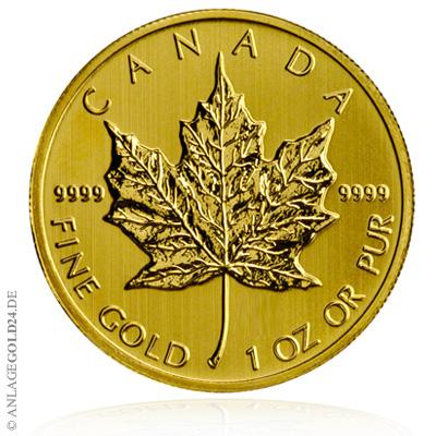 (Random year) 1 Oz gold Maple Leaf Canada  Front