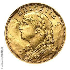 20 Schweizer Franken Vreneli Gold