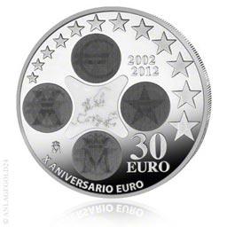 """30 Euro Silber """"10 Jahre Euro-Währung"""" Spanien 2012 Tauschaktion"""