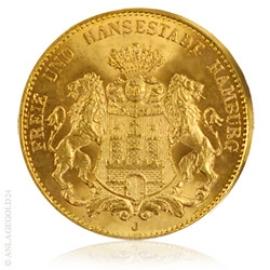 20 Goldmark Freie und Hansestadt Hamburg 1913 Jaeger 212, prägefrisch