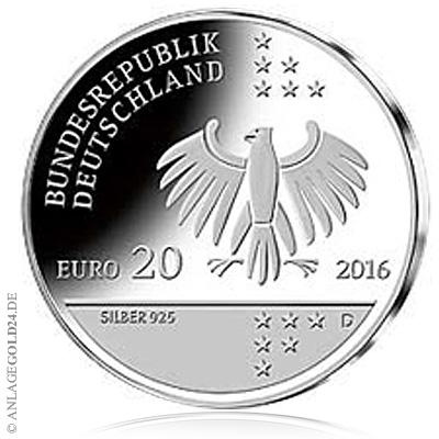 20 Euro Gedenkmünze 200 Geburtstag Ernst Litfaß Stempelglanz