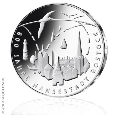 20 Euro Gedenkmünze 800 Jahre Hansestadt Rostock 2018 Spiegelglanz