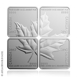 4x 1/4 oz Silber Maple Leaf Puzzle 2017 PP 222271