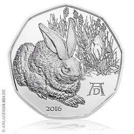 5 Euro Silber -Dürers Feldhase- Österreich 2016 Handgehoben