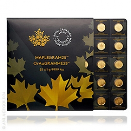 25x 1g Gold, 50 Cents Maple Leaf 2017