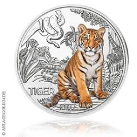 Anlagegold24 3 Euro Tiger Tier-Taler Österreich 2017 Nachtaktiv Handgehoben