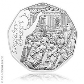 5 Euro Silber Neujahrsmünze - Österreich 2016 Handgehoben
