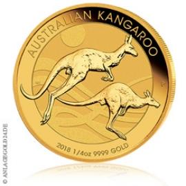 1/4 oz Gold, 25 Dollar Nugget / Känguru 2018