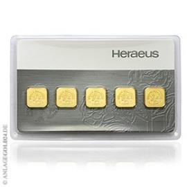 5x 1g Goldbarren Multicard Heraeus