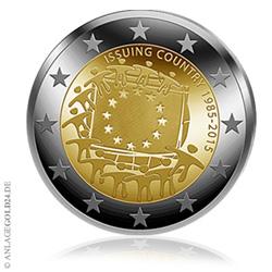 2 Euro Sammlermünze 30 Jahre Eu Flagge