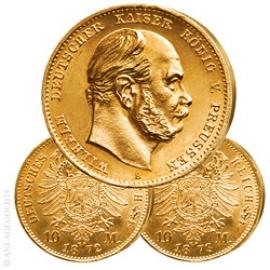 2 x 10 Mark Preussen Wilhelm I. 1872 und 1873 Jaeger 242