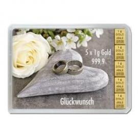 5 x 1 g Gramm Goldbarren Hochzeit in Geschenkverpackung