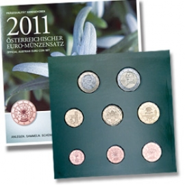 Kursmünzensatz Österreich 2011 Handgehoben 393999