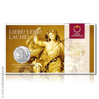 5 Euro Silber Neujahrsmünze österreich 2019 Handgehoben