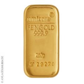 250 Gramm Goldbarren